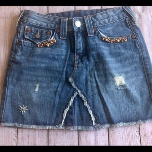True Religion Denim Mini Beaded Skirt 26